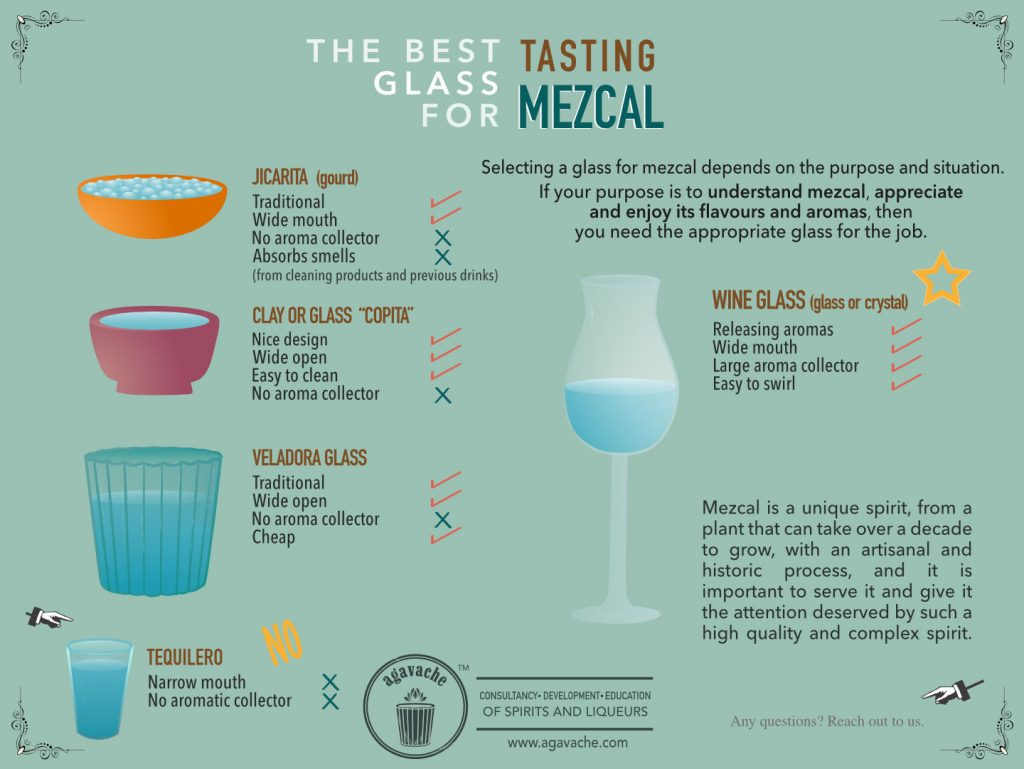 comparison of different glasses used to drink mezcal