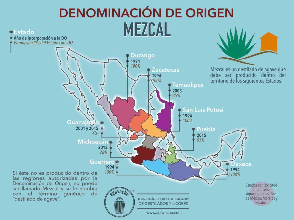 Mapa de la DO Mezcal